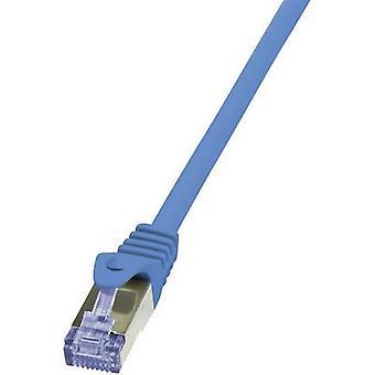 LogiLink CQ3026S RJ45 Network cable, patch cable CAT 6A S/FTP 0.50 m Blue Flame-retardant, incl. detent 1 pc(s)