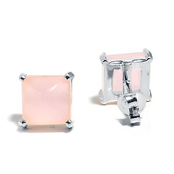 Gemshine Women's Earrings 925 Silver Chalcedon Pink 10mm