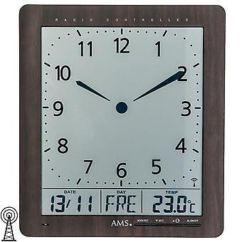 Klokkeradio veggur viser klokkeslett, dato, ukedag,