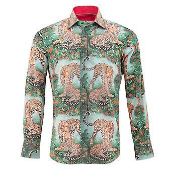 Safari Клаудио Lugli леопарда печати Мужская рубашка