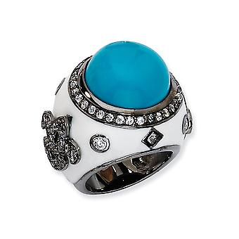 Black plated 925 Sterling Silver Black rhodium Enamel Simulated Turquoise and Cubic Zirconia Ring Jewelry Gifts for Wome