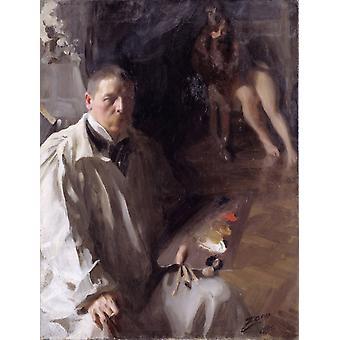 Zelfportret met model, anders Zorn, 50x40cm