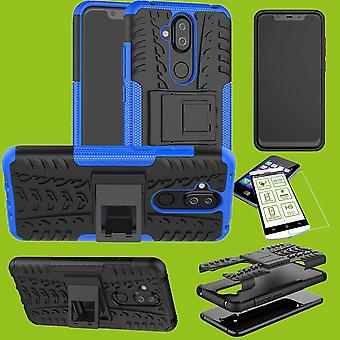 Para Nokia 8.1 2018 (X 7) polegadas 6,18 híbrido caso 2 pedaço vidro temperado + azul saco capa case luva nova