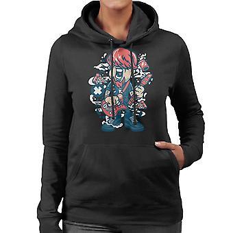 Une guitare cassée Cartoon Hooded Sweatshirt personnage féminin
