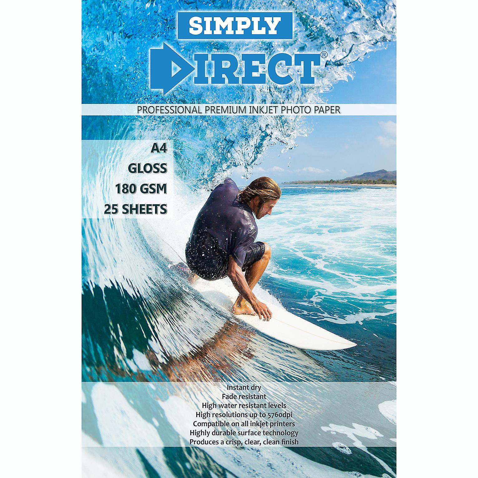 25 x Simply Direct A4 Gloss Inkjet Photo FSCPrinting Paper - 180gsm - Professional Premium Photographic Paper