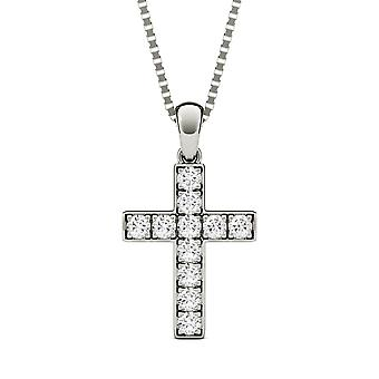 14K White Gold Moissanite by Charles & Colvard 1.7mm Round Pendant Necklace, 0.22cttw DEW
