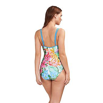 Féraud 3195073-16363 Women's Beach Flowers Multicolour Floral Costume One Piece Swimsuit