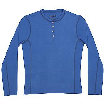 Jaco Mens Henley Long Sleeve Shirt -Indie Blue
