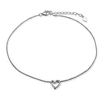925 Sterling Silver Open Heart Charm Ankle Chain
