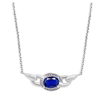 Ah! Jewellery Sterling Silver Pendant Necklace With An Oval Sapphire