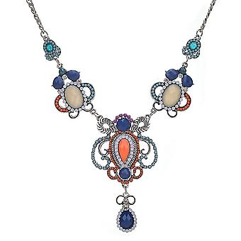 Ladies colourful crystal aztec style jewel statement swarovski crystal collar necklace