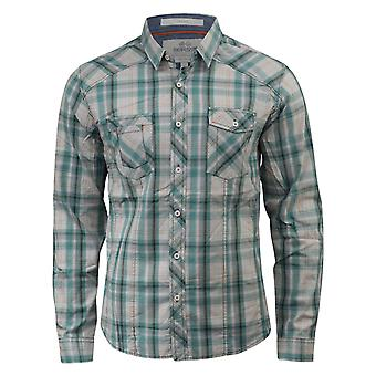 Mens check shirts crosshatch otley long sleeve with chambray detailing