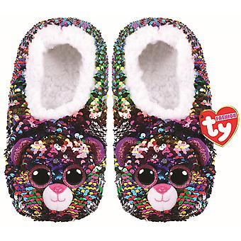 TY Flippable Sequin Slippers - Dotty The Leopard -  Size Small (10J-12J)