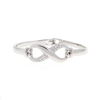 Belle et Beau White Gold Plaqué Crystal Infinity Bangle