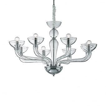 Ideal Lux Casanova 8 bombilla colgante luz transparente
