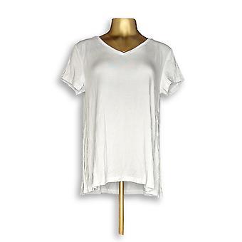 H by Halston Women's Top Essentials V-Neck Tee White A306231 #1