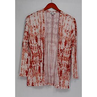 Denim & Co. pusero XXS Tie Dye painettu avoin uusi Vintage vaaleanpunainen A276104
