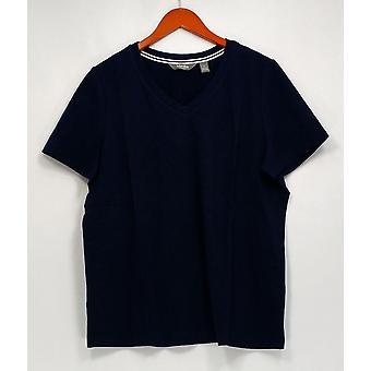 Martha Stewart Top Classics V-Neck Short Sleeve Navy Blue A307721