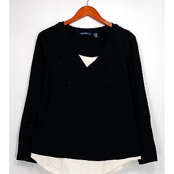 Isaac Mizrahi Live! Top Long Sleeve Layered Look Tunika Schwarz A296761