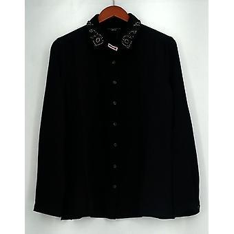 Susan Graver pieni käsi työläinen venyttää kudottua paita w/helmillä koristeita musta