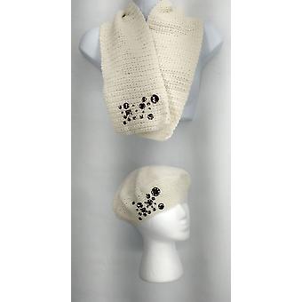 Curations الأبيض متماسكة منمق قبعة ووشاح مجموعة وشاح النساء