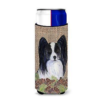 Papillon en Faux Burlap con conos de pino Ultra Aislantes de Bebidas para latas delgadas
