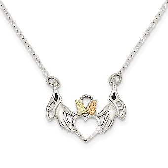 925 Sterling Silver Spring Ring Polished and satin and 12k Love Heart In Hands Necklace 18 Inch Jewelry Gifts for Women