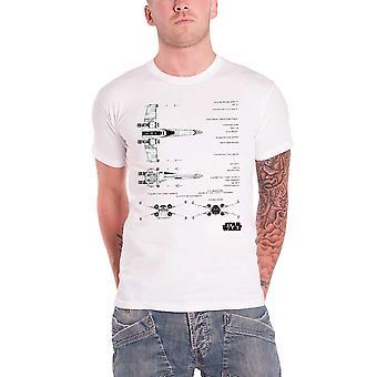 スター ・ ウォーズ メンズ T シャツ白 X ウィング戦闘機設計力覚醒公式