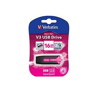 Verbatim 16GB V3 USB 3 Pink Store n Go V3 Retráctil