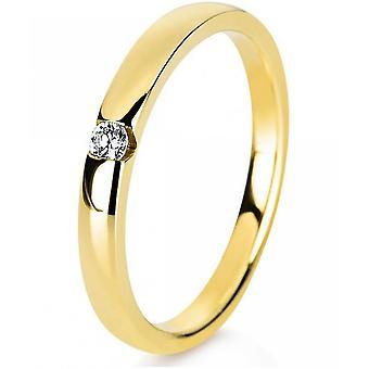 Diamantring ring-14K 585 gul guld-0,05 CT.