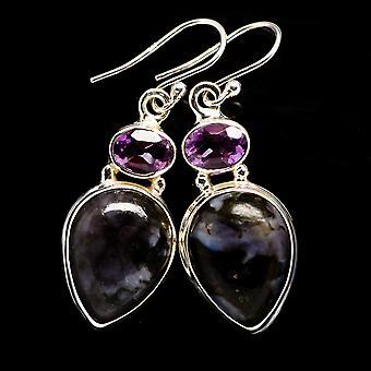 Gabbro Stone, Amethyst Earrings 1 5/8