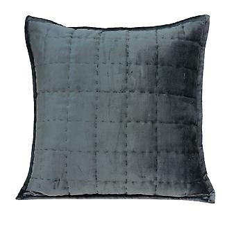 "20"" x 7"" x 20"" Transitional Charcoal Solid Quilted Pillow Cover With Poly Insert"