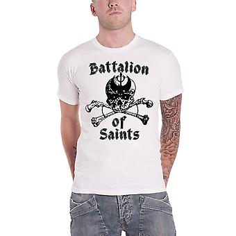 Battalion Of Saints T Shirt Skull And Crossbones Band Logo Official Mens White