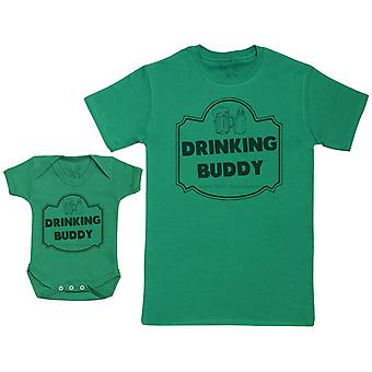 Drinking Buddy, Drink Milk - Baby Gift Set with Baby Bodysuit & Father's T-Shirt