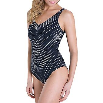 Speedo Womens Vivapool ein Stück Badeanzug Urlaub Schwimmen Kostüm - schwarz