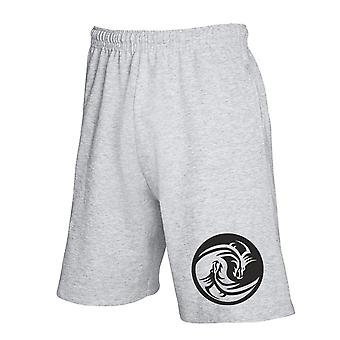 Pantaloncini tuta grigio fun4272 yin yang dragons tribal