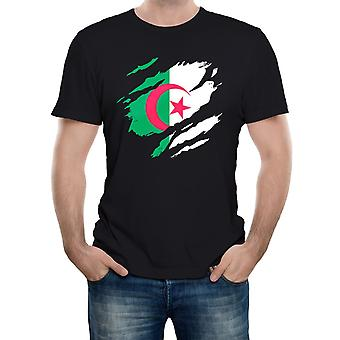 Reality glitch torn algeria flag mens t-shirt