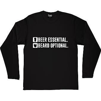 Cerveja essencial preto de mangas compridas T-Shirt