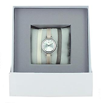 Les InterchangeableS Box A56937-CR meg bo tier Silver kvinners Ribbon klokke