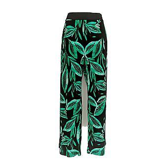 Alfani Women's Plus Pants Tropical Print Palazzo Black/ Green
