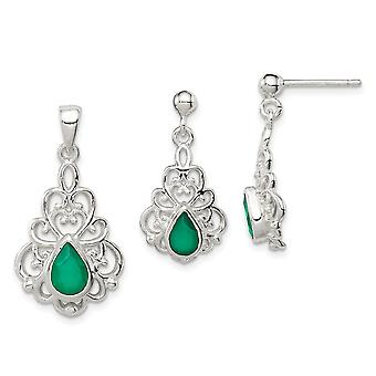 925 Sterling Silver Polished Green Agate Pendant Necklace and Post Earrings Set Jewelry Gifts for Women