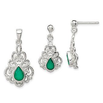 925 Sterling Silber poliert grün Achat Anhänger Halskette und Post Ohrringe Set Schmuck Geschenke für Frauen