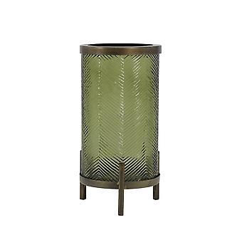 Licht en levende orkaan 15,5x31,5 cm - Tibor Glas Olijfgroen en antiek brons