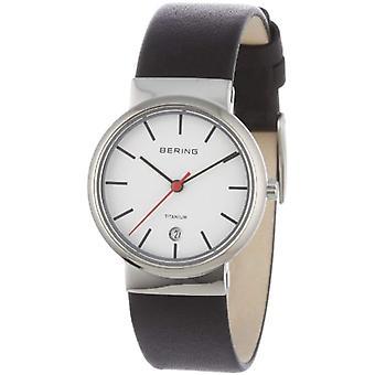 Bering Analog quartz women's watch with black leather strap 11029-404