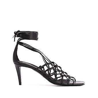Stella Mccartney 800076n00301000 Sandalias de cuero negro de imitación