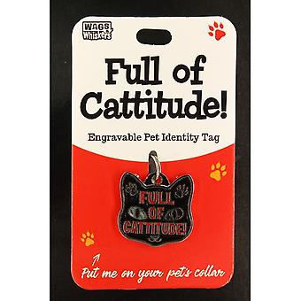Wags & Whiskers Pet Cat Identity Tag - Cattitude