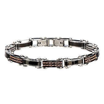 Men's Double Sided Steel Black Rose Gold IP Bracelet
