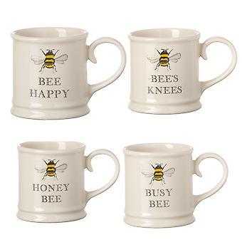 Tuftop Bee Set de 4 canecas de expresso estilo Tankard
