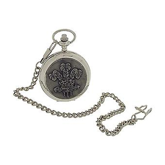 Boxx Gents 'Prince Of Wales' Design Oxidised Cover Pocket Watch 14 Inch Chain BOXX400