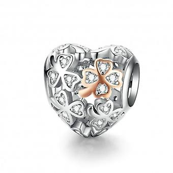 Sterling Silver Charm Four Leaf Clover Heart Shape - 6229
